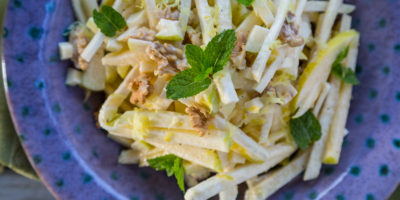 Cool, crunchy Celery Root, Apple and Walnut Coleslaw | Thanksgiving.com