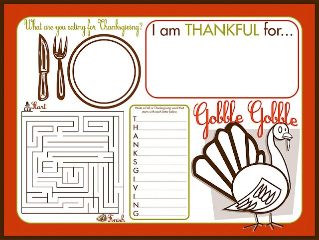 Thanksgiving Children's Activity Placemat Printable on Thanksgiving.com
