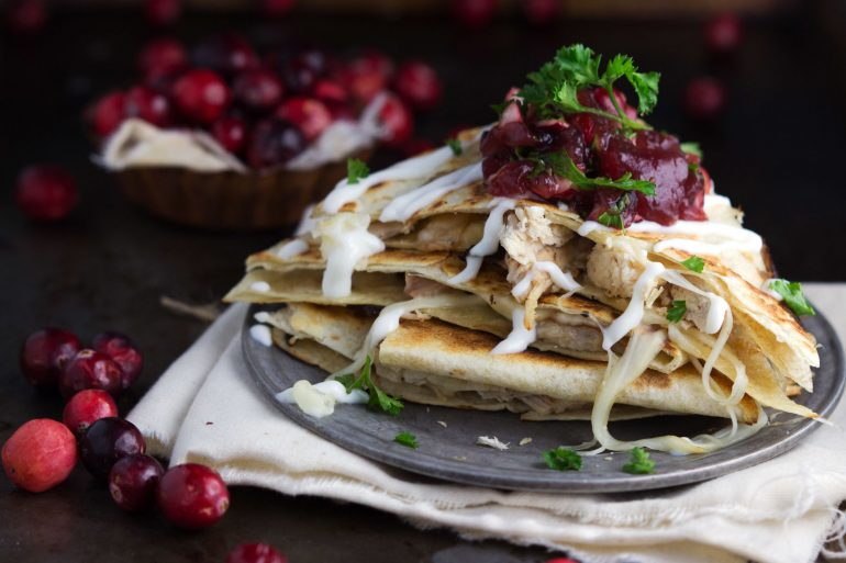 Use up Thanksgiving leftover turkey and cranberries in this turkey quesadilla with homemade cranberry salsa recipe | Thanksgiving.com