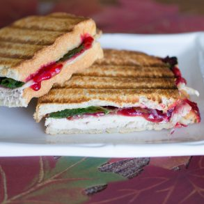 Turkey cranberry stuffing panini recipe with Thanksgiving leftovers from MakeItGrateful.com
