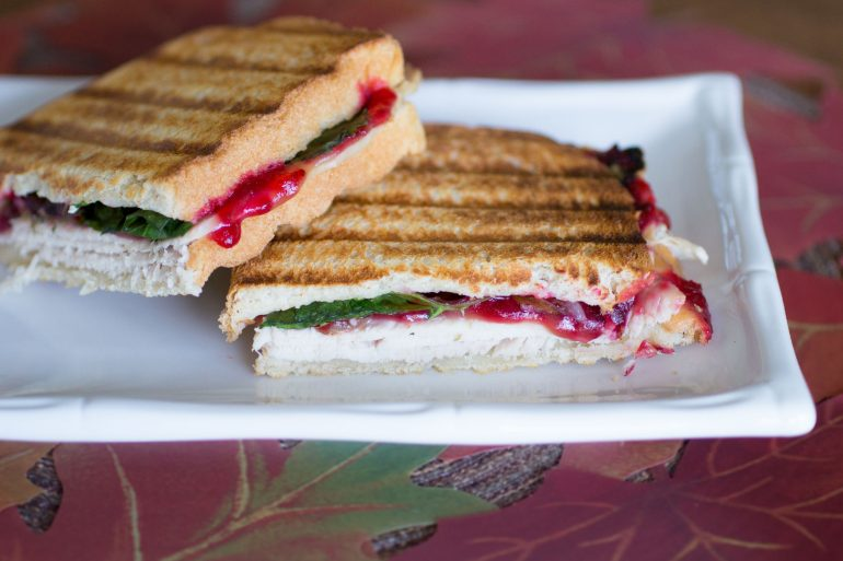 Turkey cranberry stuffing panini recipe with Thanksgiving leftovers from Thanksgiving.com