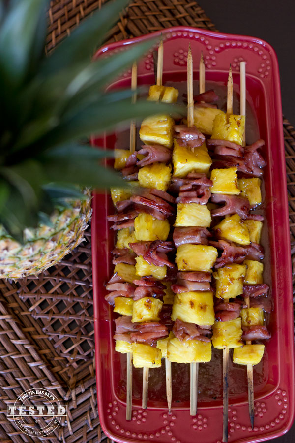 Ham and pineapple chunks grilled on kabobs