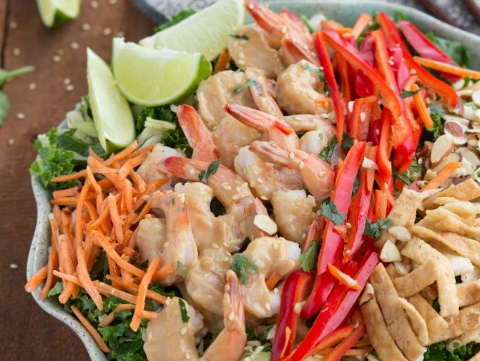 Fresh salad with Thai shrimp and chili lime vinaigrette