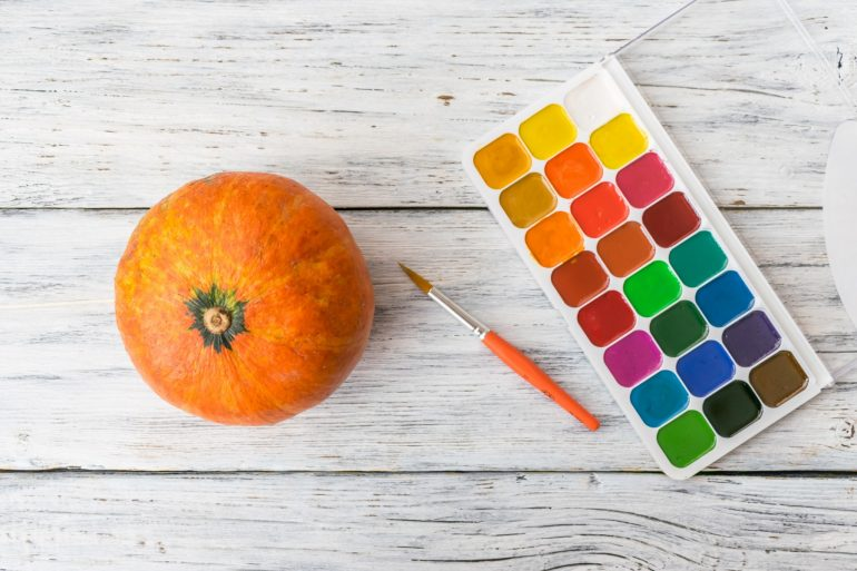 pumpkin-with-paint-and-paintbrush