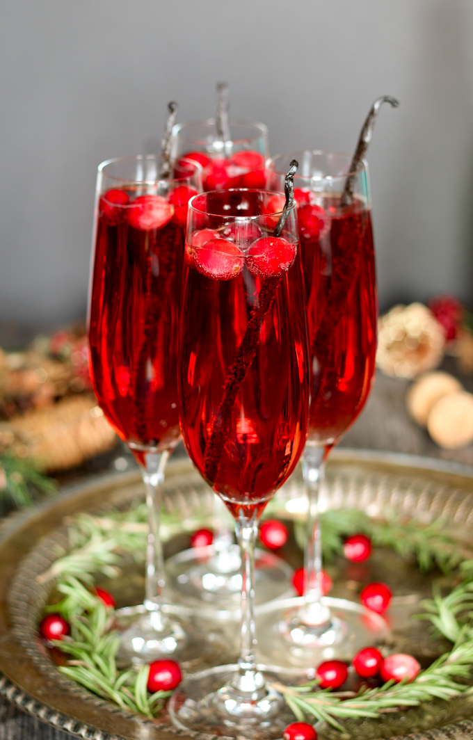 Vanilla Cranberry Mimosa for Christmas Cocktails