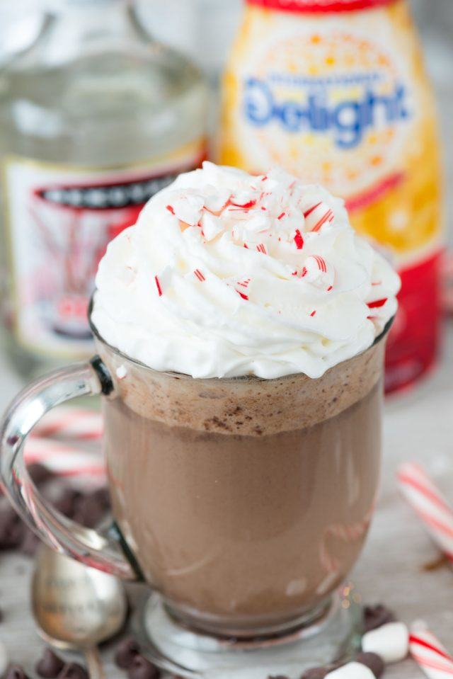 Slow Cooker Peppermint Mocha with Peppermint Schnapps for Christmas