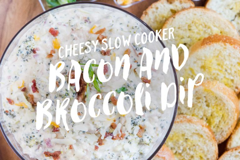 Cheesy slow cooker bacon and broccoli dip