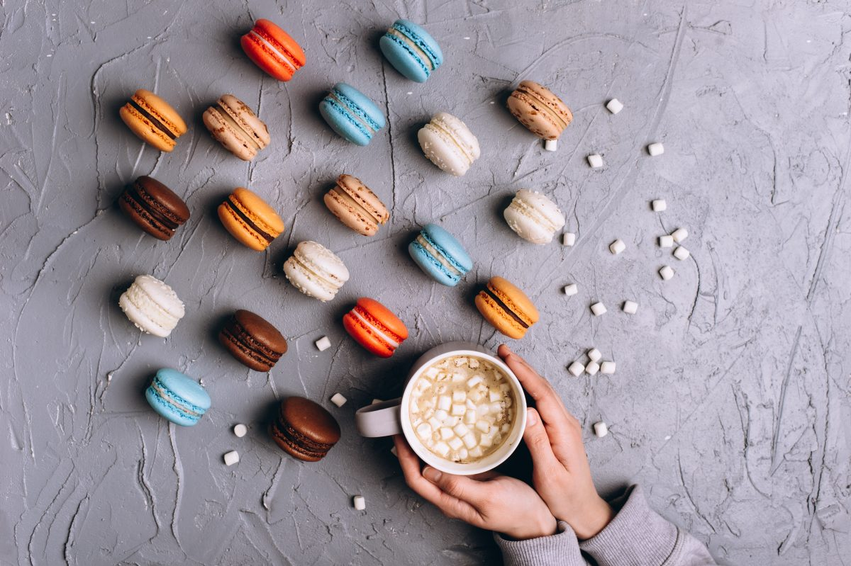 French macarons and hot chocolate