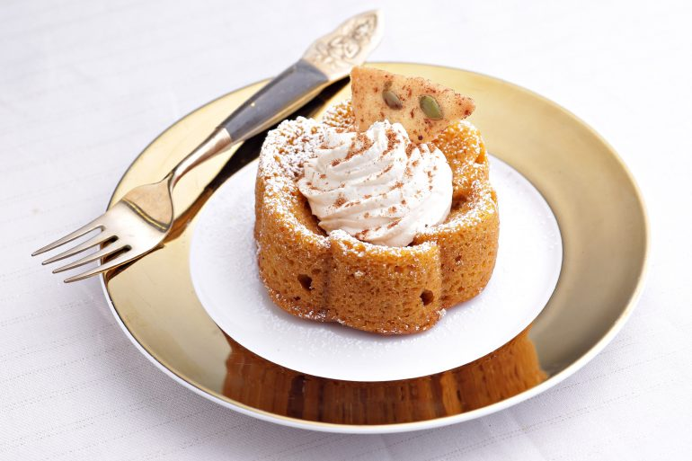 Pumpkin Spice Cake with Mascarpone Cream