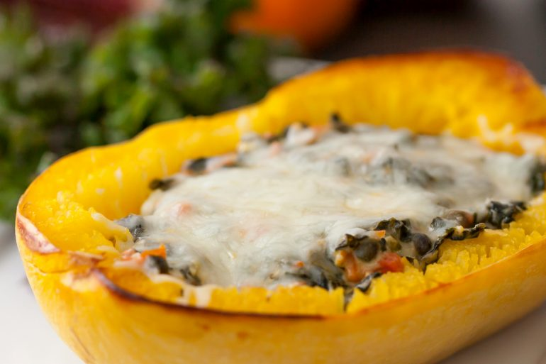 Thanksgiving Italian-style stuffed spaghetti squash recipe