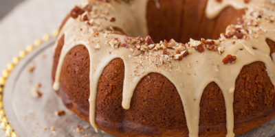 Pumpkin Bundt cake with brown sugar glaze & pecans