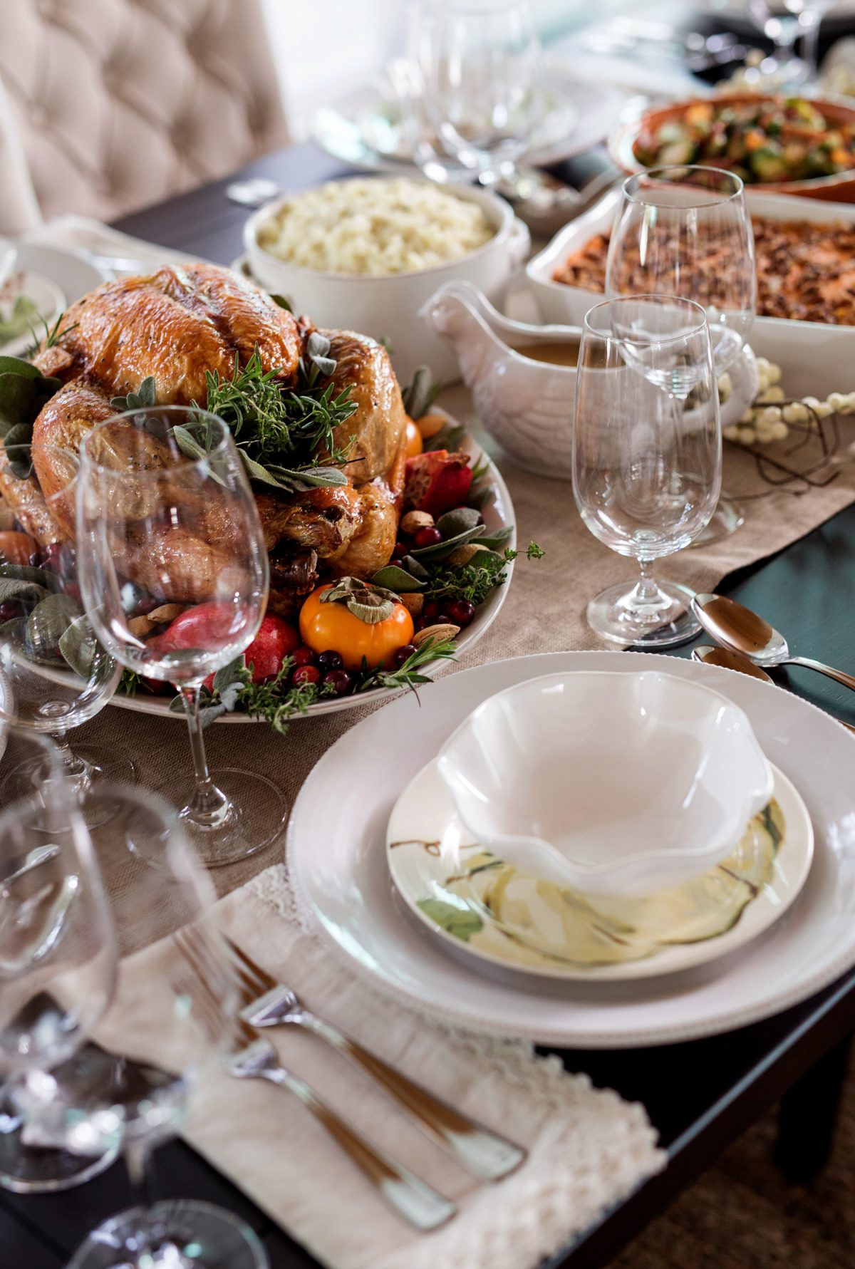 Turkey and sides on the Thanksgiving dinner table