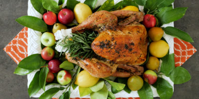 Roasted turkey with fresh herbs