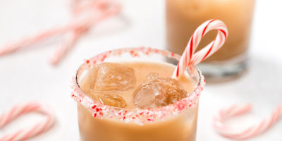 A cool peppermint white Russian cocktail