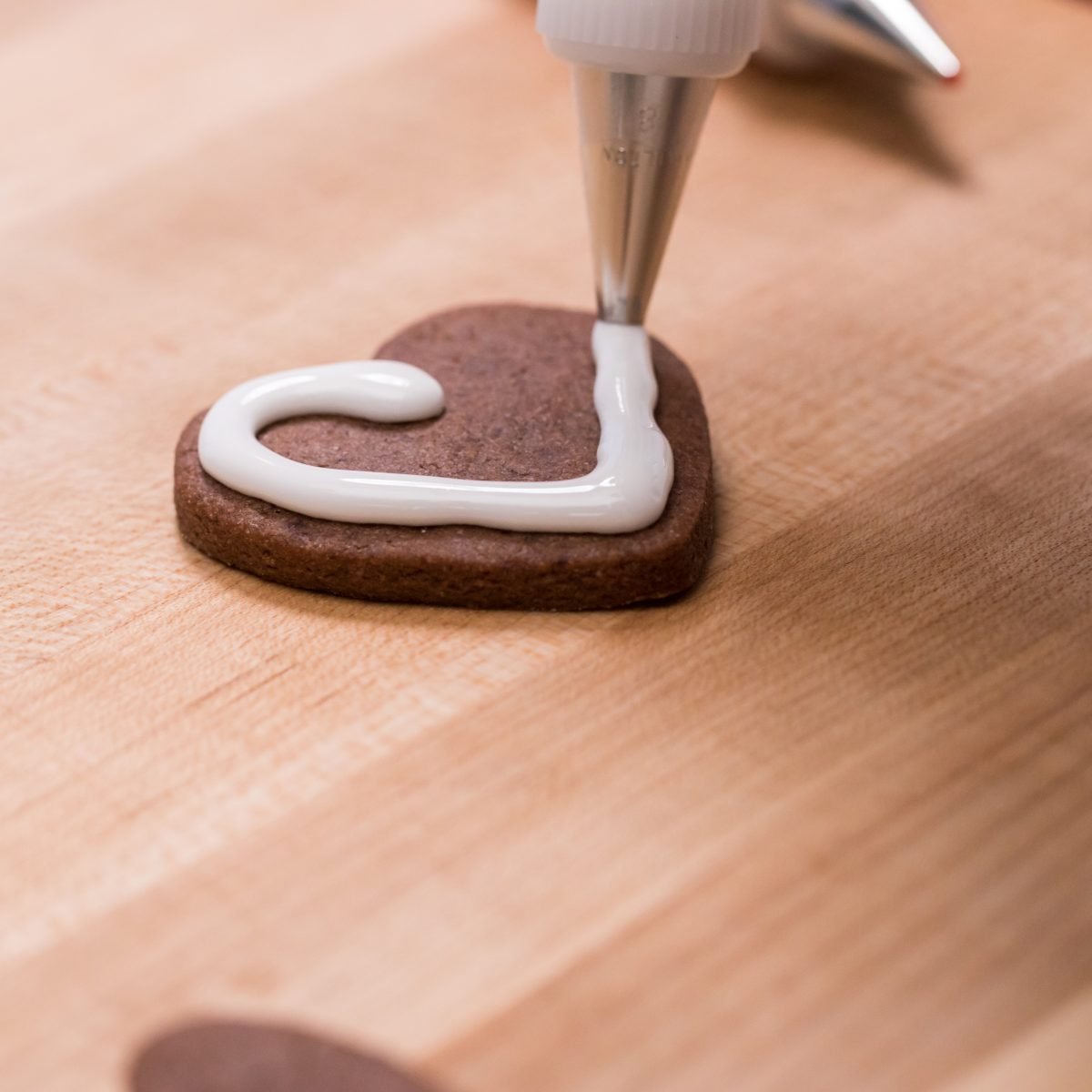 Heart-shaped brownie cutout cookies
