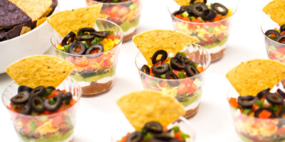 Mini seven-layer dips