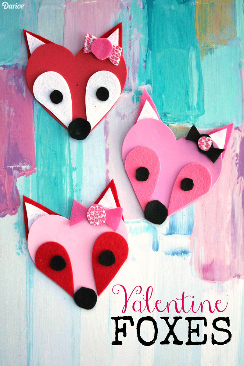 Foam heart fox Valentine's