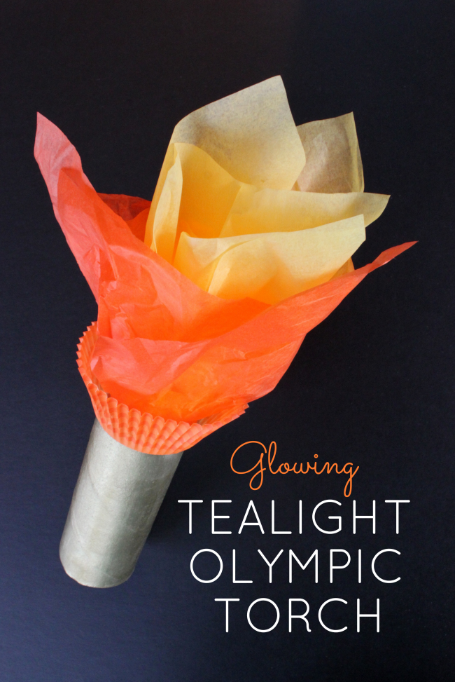 Glowing tea light Olympic torch