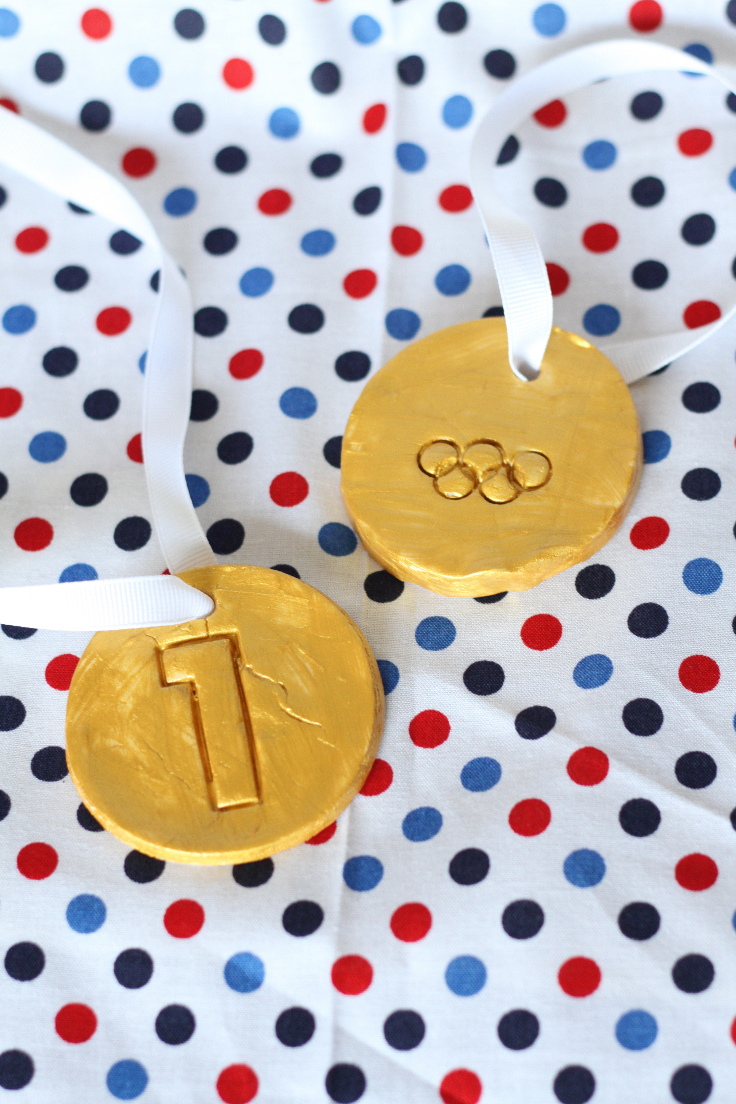 Olympic medals made with baking soda and modeling clay