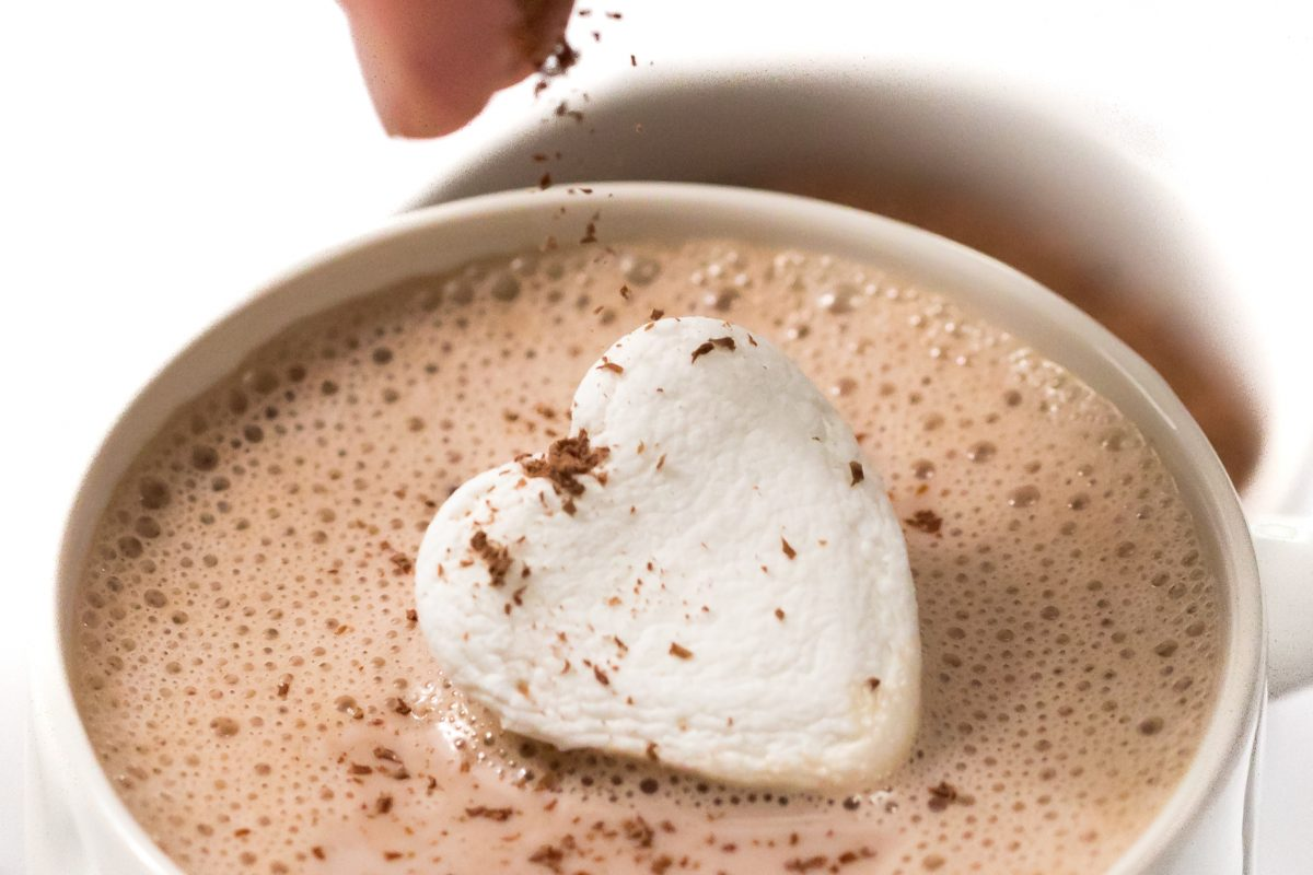 Amaretto hot chocolate with heart marshmallows