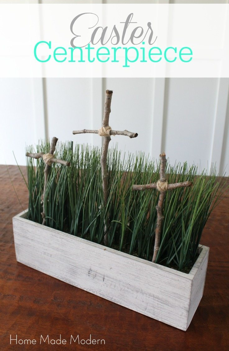 Religious cross Easter centerpieces