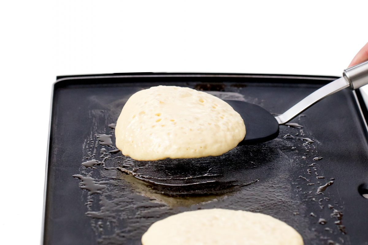 Flip to cook other side of pancakes