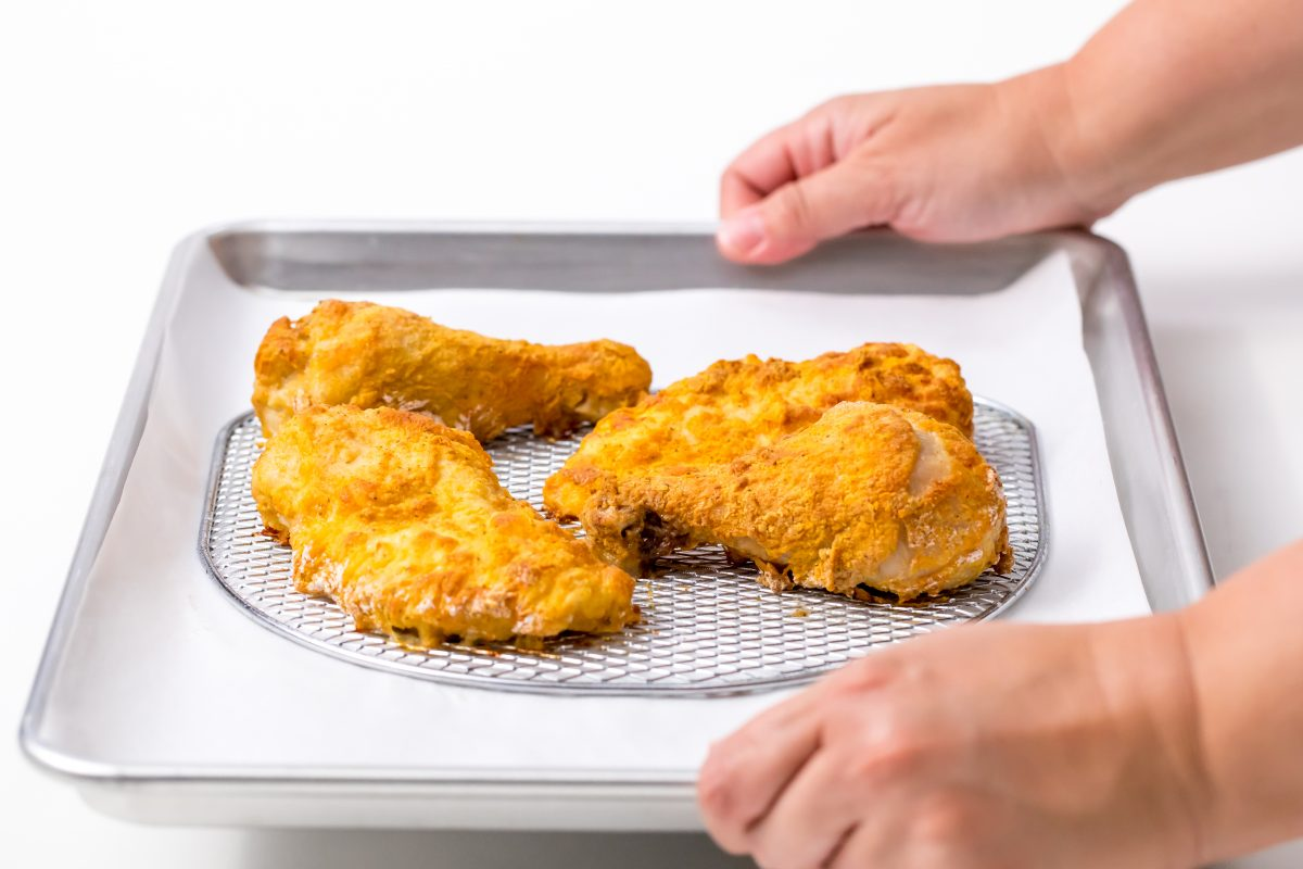 Remove Air Fryer fried chicken once thoroughly cooked