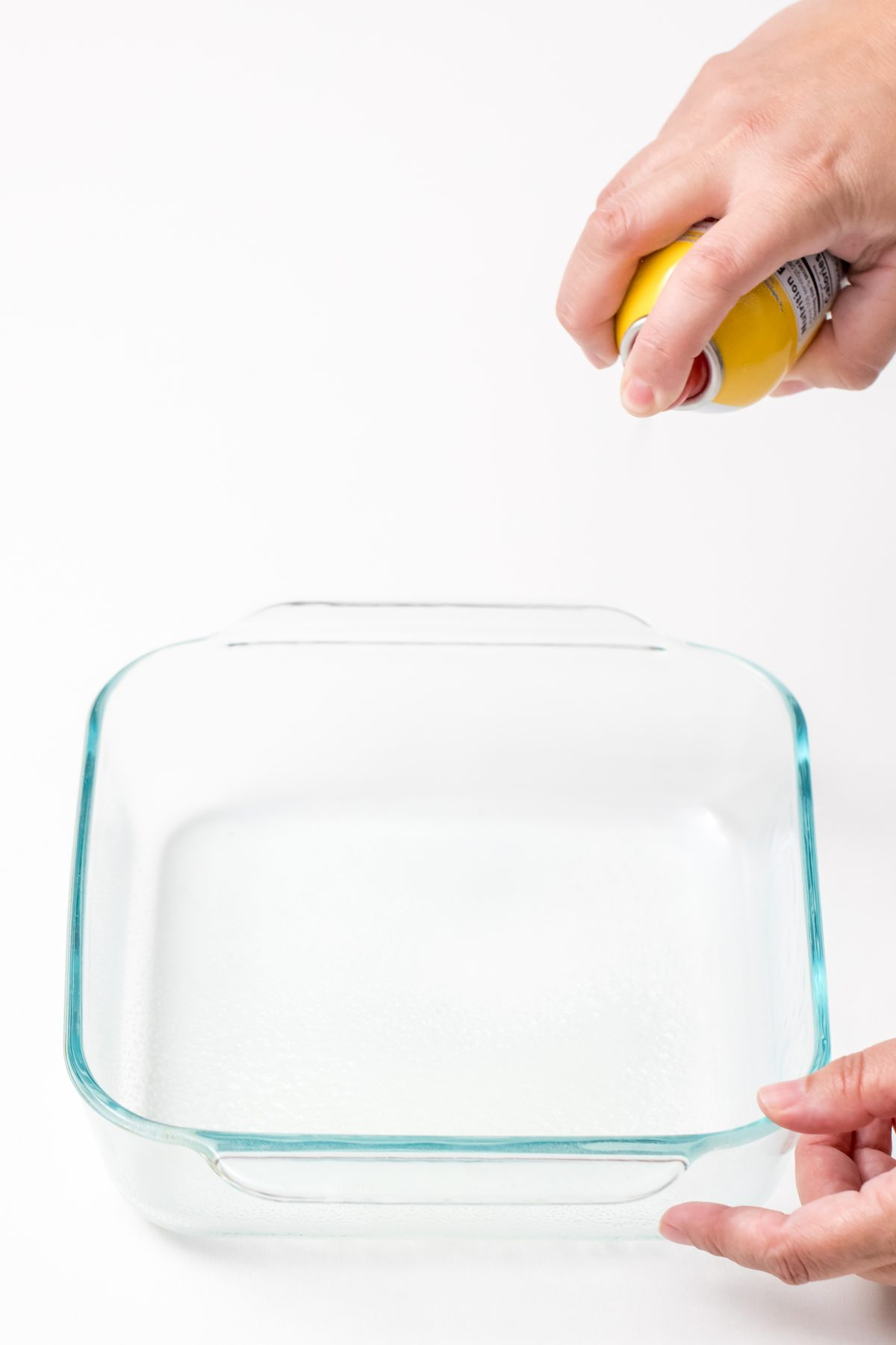 Spray baking dish with cooking spray