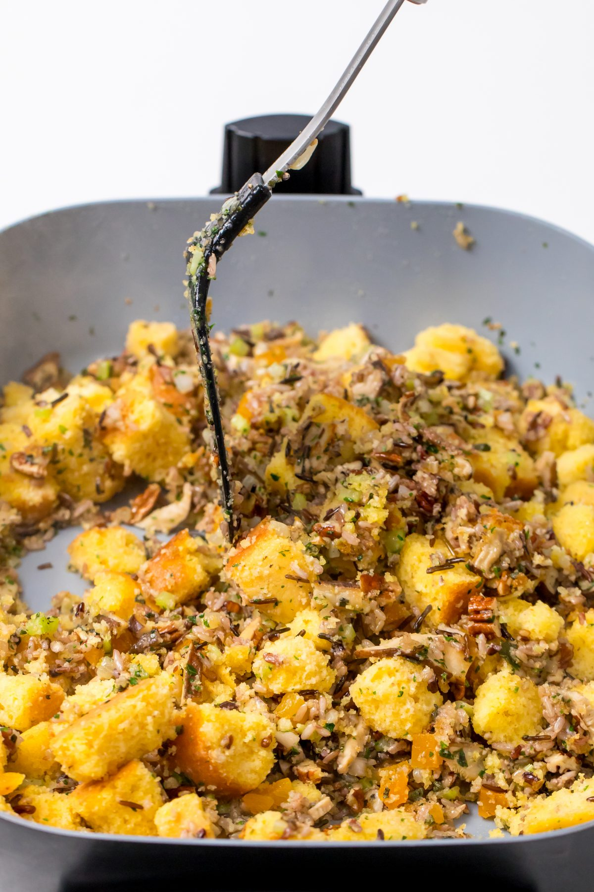 Combine the stuffing ingredients in the skillet