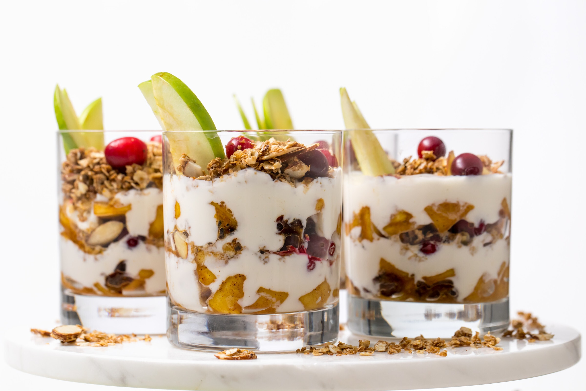 5D4B8756 - Apple Pie Yogurt Parfait with Cranberries