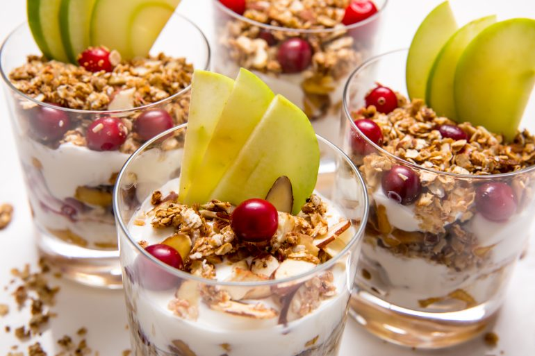 5D4B8798 - Apple Pie Yogurt Parfait with Cranberries
