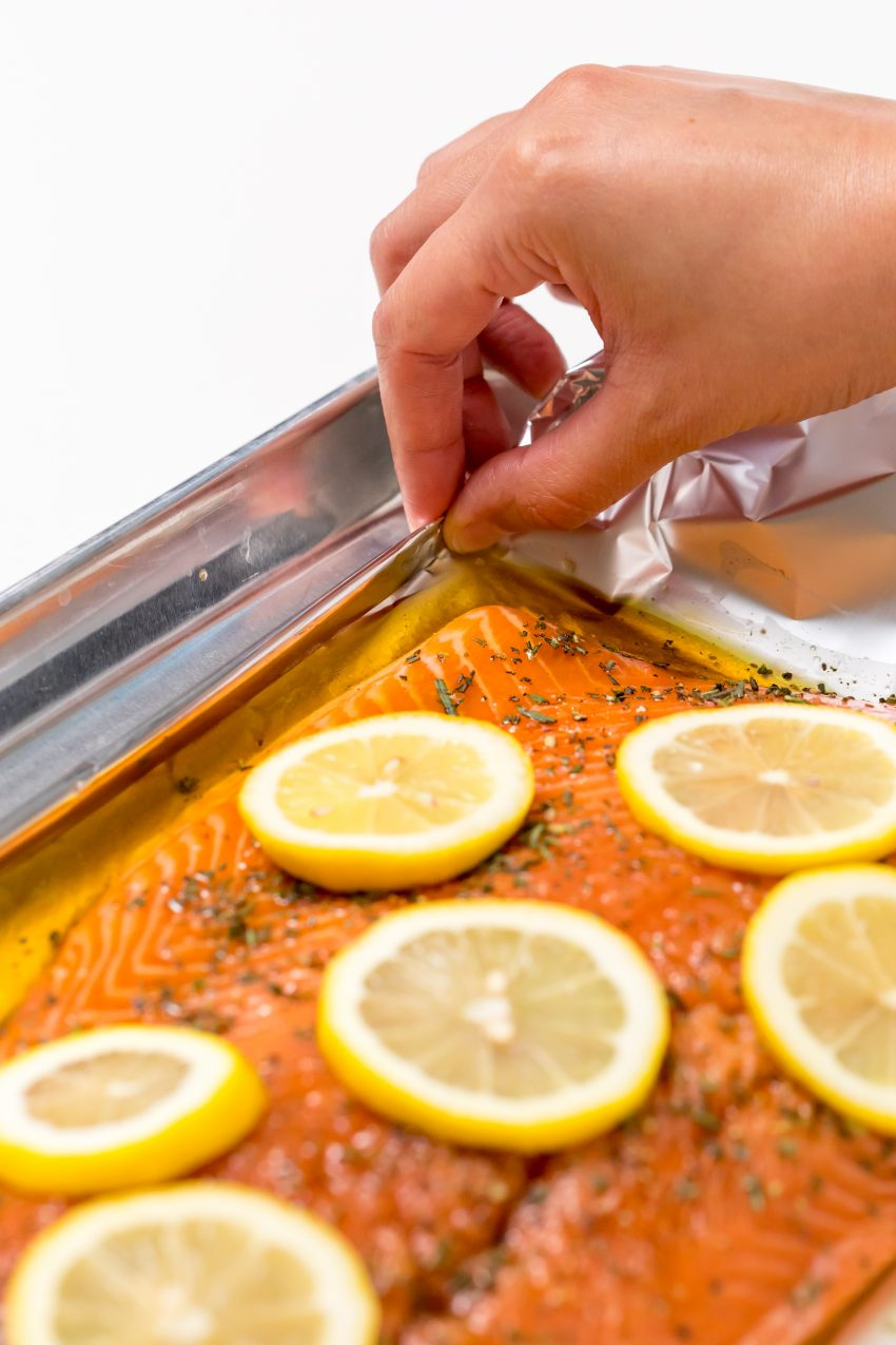5D4B2320 - Salmon with Maple Syrup and Rosemary - Fold up the foil for grilling