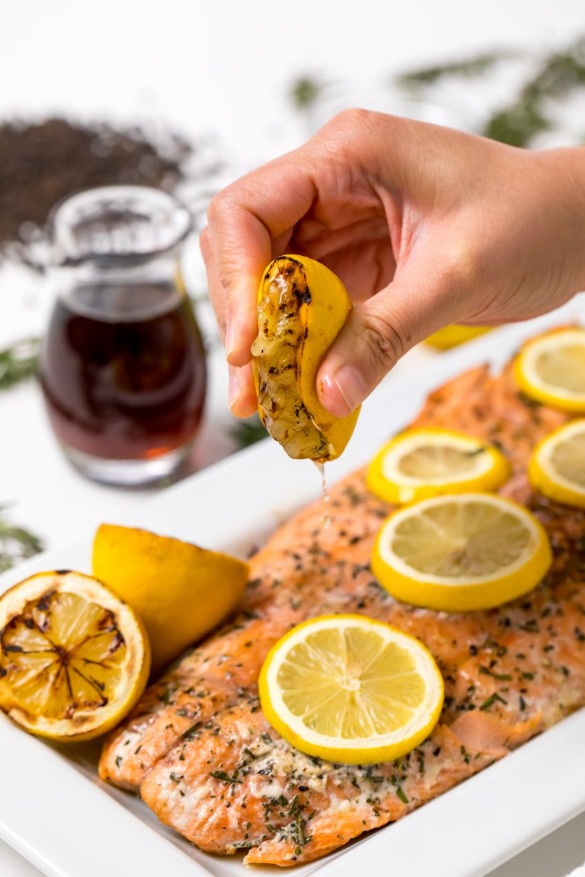 5D4B2377 - Salmon with Maple Syrup and Rosemary - Squeeze the grilled lemons over the salmon