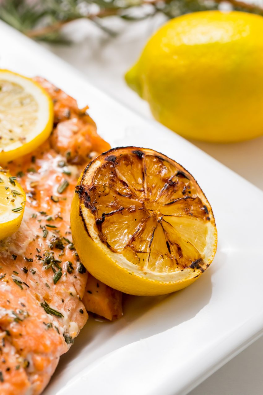 5D4B2425 - Salmon with Maple Syrup and Rosemary - grilled lemon