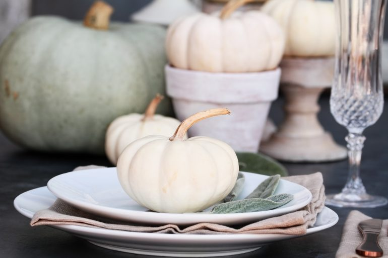 Friendsgiving decorations white pumpkin centerpiece