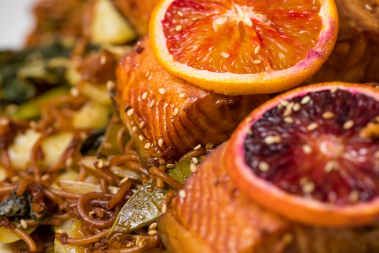 5D4B1747 - Salmon Yakisoba with Blood Oranges