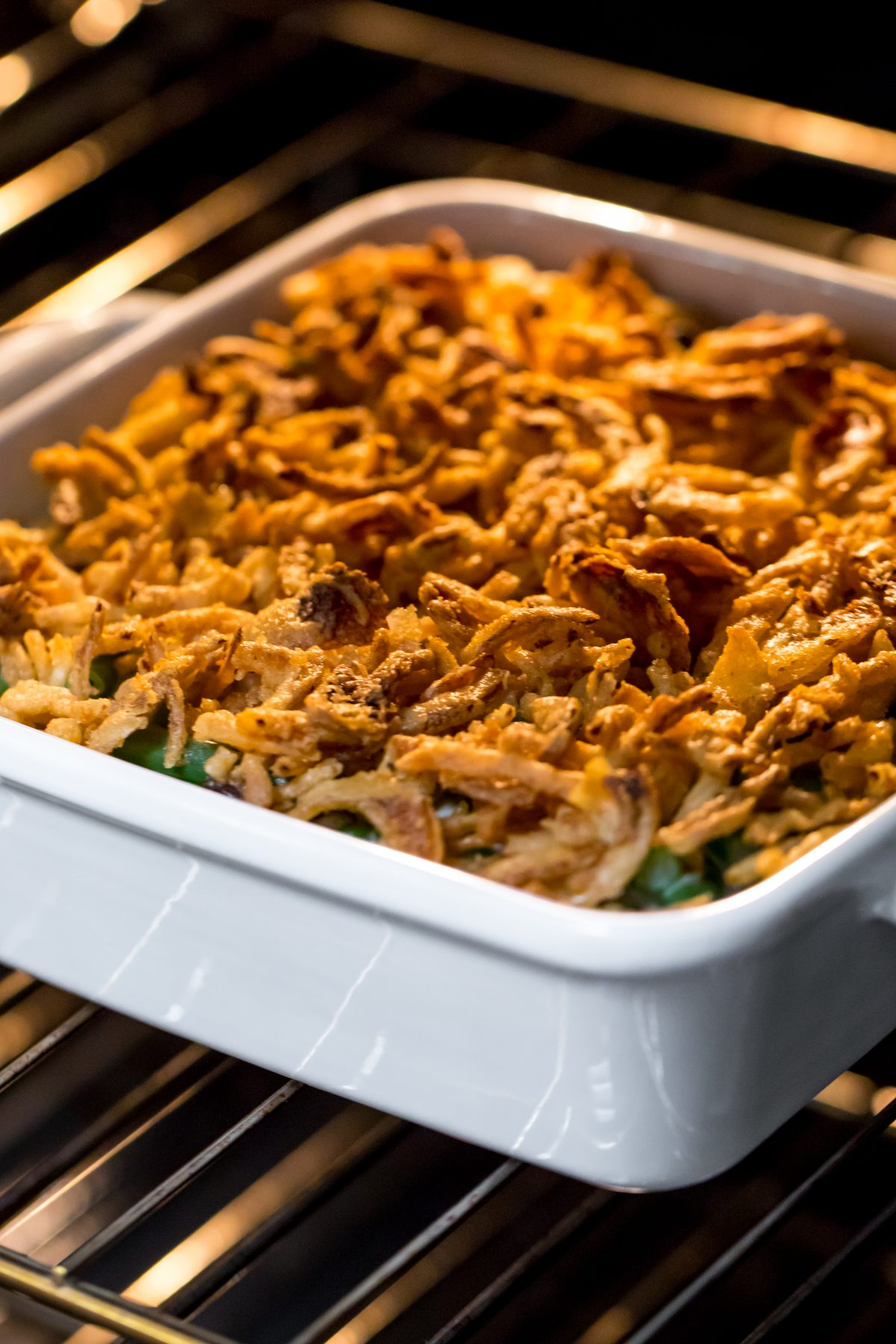 Creamiest green bean casserole - Bake the green bean casserole