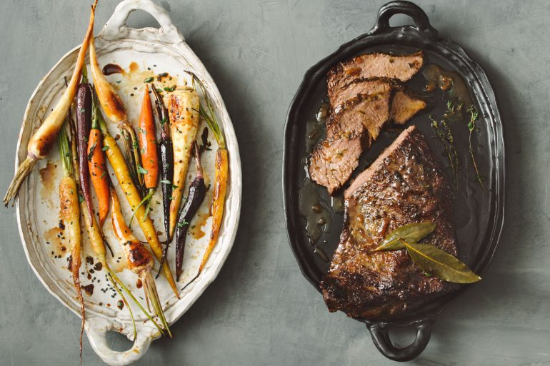 Braised Tri-Tip with Honey-Roasted Carrots & Parsnips (c) Rebecca Sanabr...