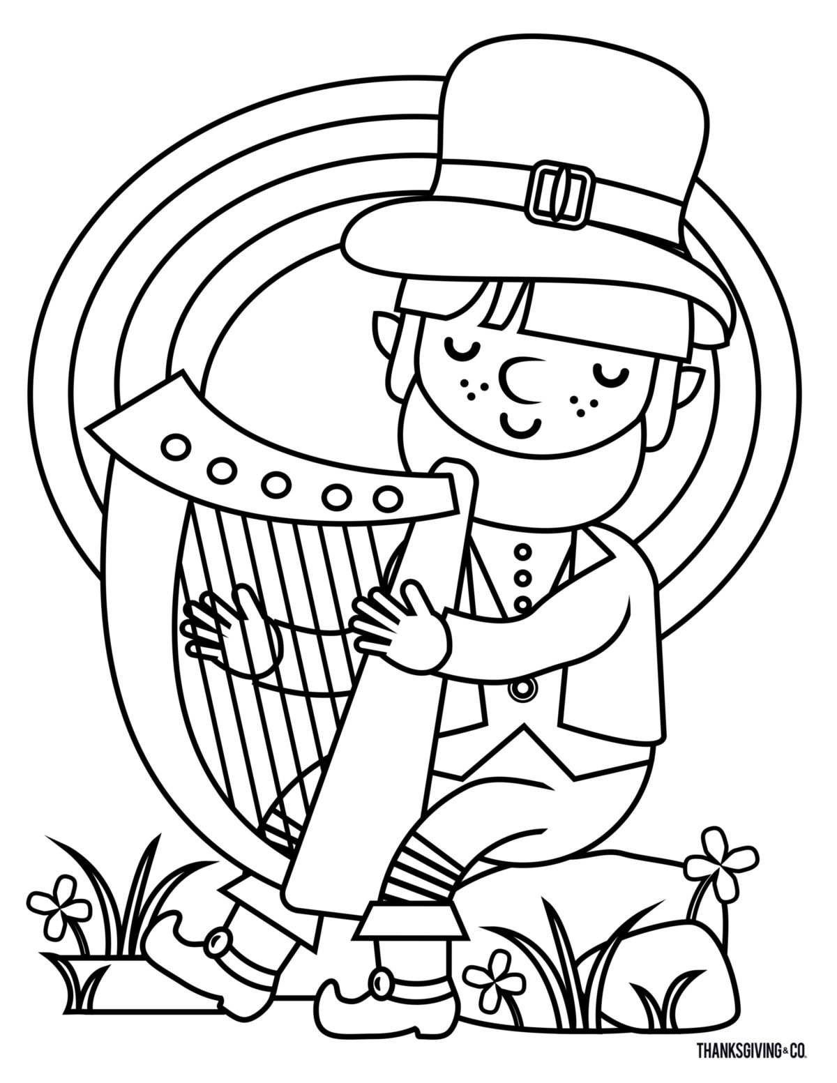 St.Patricks Day Coloring Book - Leprechaun playing a Celtic harp