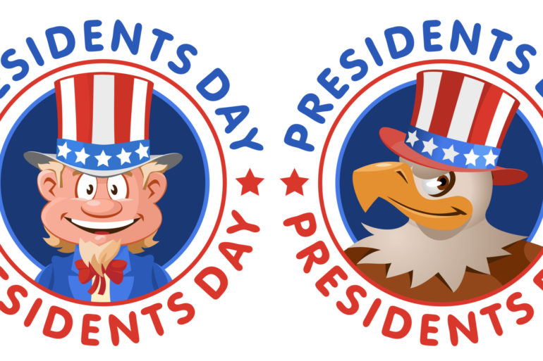 Presidents Day. Cartoon Uncle Sam and American eagle in patriotic hat.