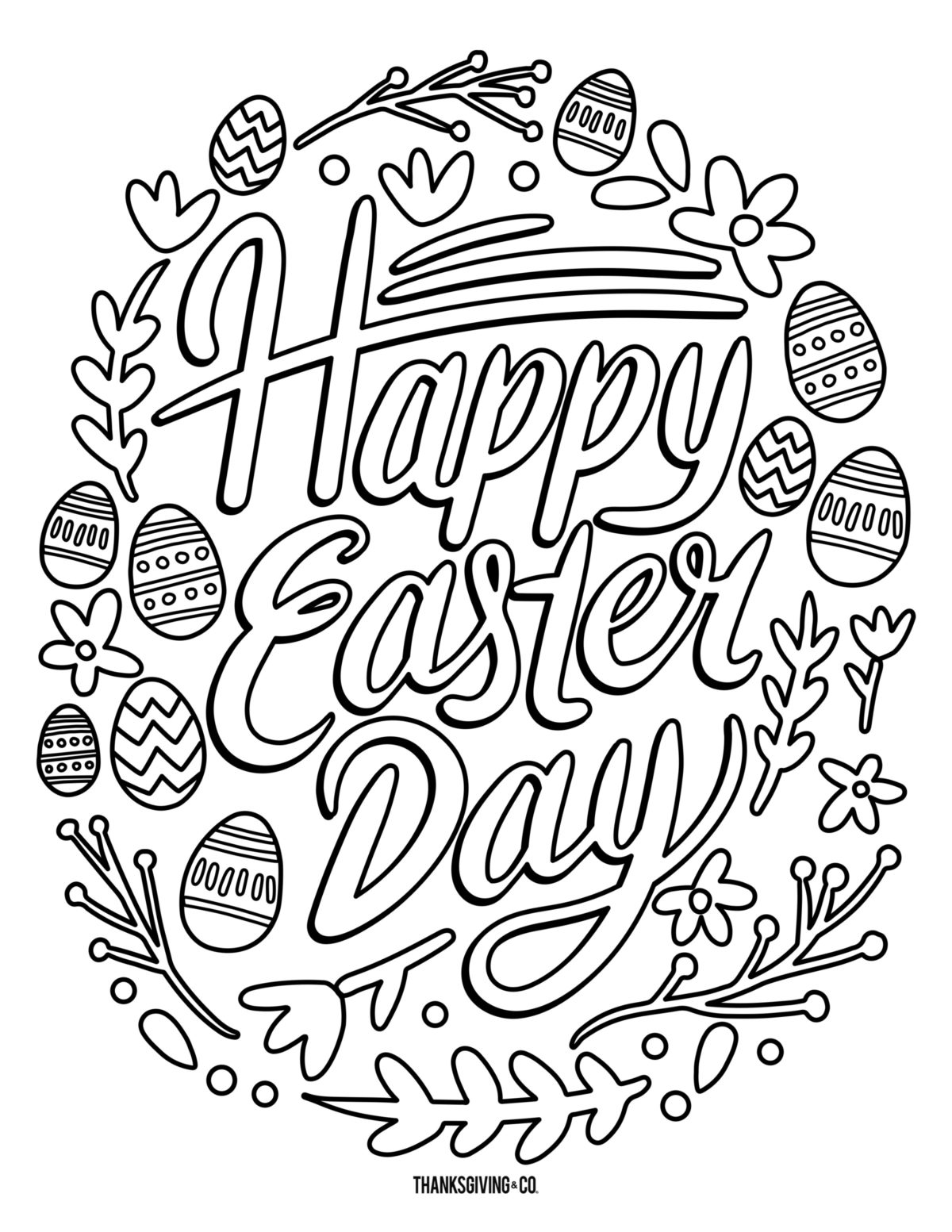 5 free printable Easter coloring pages for adults that will relieve ...