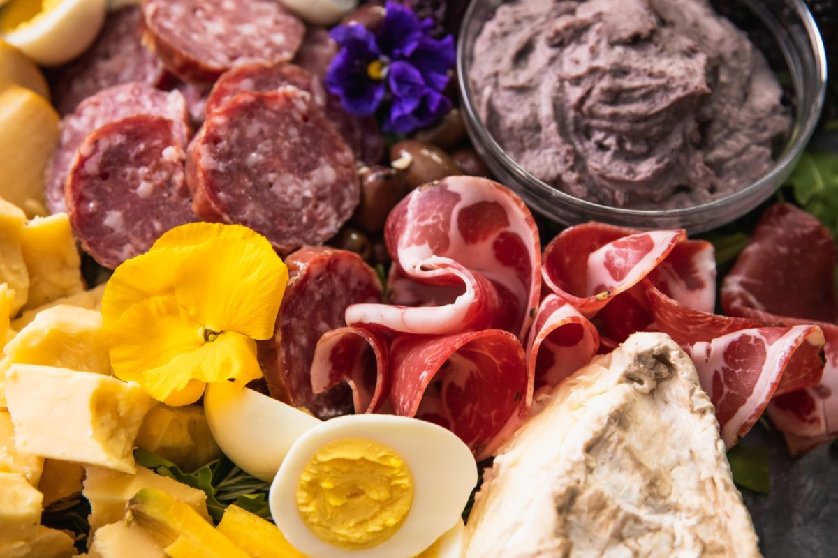 Meat and dips – Easter Charcuterie Board