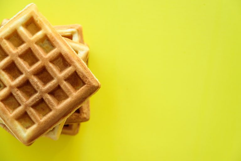 waffles on yellow background