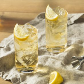 cocktail with lemon garnish