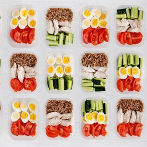 meal prep contianers on white background