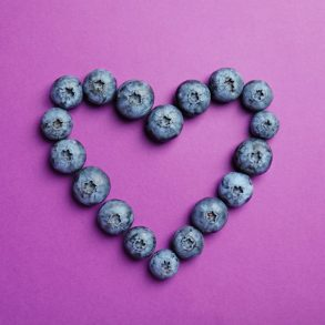 superfood blueberries in a heart
