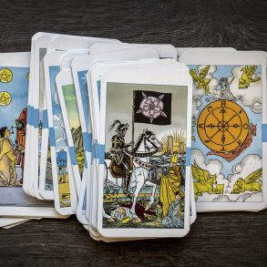 tarot cards on wooden background