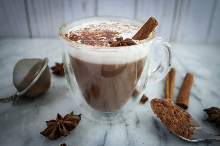 Mexican Hot Chocolate side profile with cinnamon