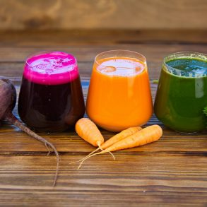 vegetable cocktails three juices flat lay